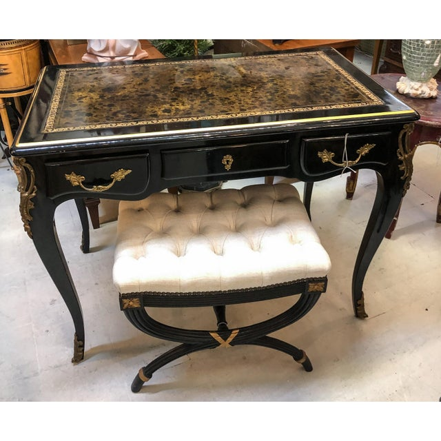 Louis XV Style Desk / Secretary With Neoclassical Stool Set For Sale - Image 9 of 13
