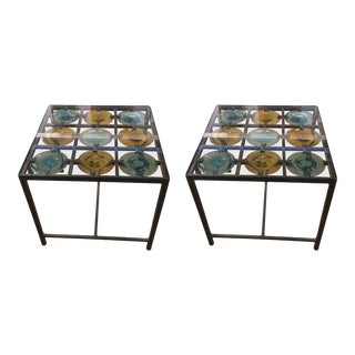 Spanish Handblown Glass Discs Side Tables - a Pair For Sale