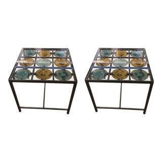 Spanish Handblown Glass Discs Side Tables - a Pair