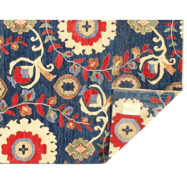 Original Suzani Design Rug. Handmade Hand-knotted Very Practical for High Traffic Hand-Spun Lamb's Wool on a Cotton...