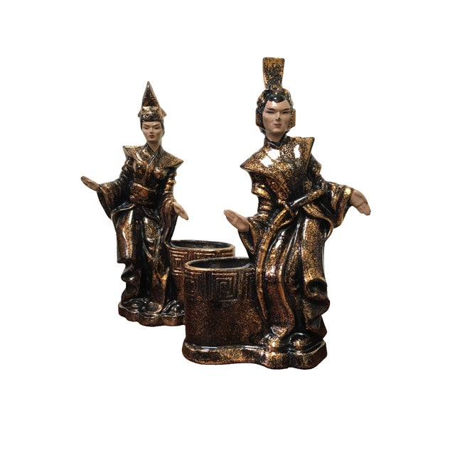 Gilner Asian Antique Black and Gold Figurine Planters - a Pair For Sale - Image 10 of 10