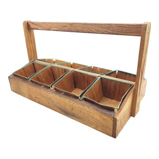 Antique Solid Wood Carpenters Crate With Tall Handle and 8 Compartments With Removable Baskets For Sale