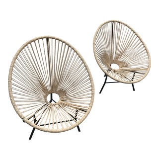 Roost Eclipse-Woven Acapulco Egg Chairs- A Pair For Sale