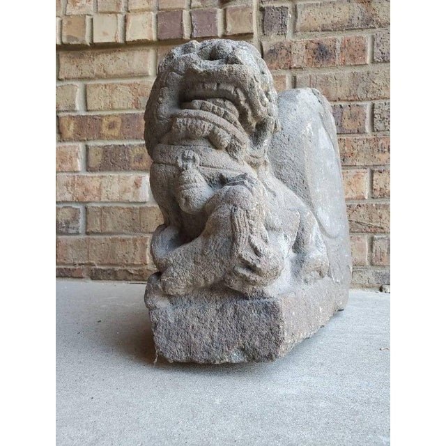 Asian Antique Antique Chinese Buddhist Temple Architectural Foo Lion Statual For Sale - Image 3 of 11
