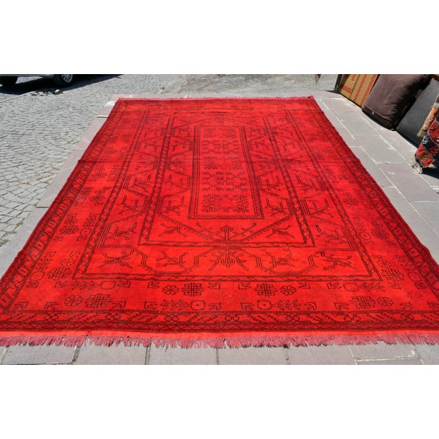 Contemporary Turkish Hand-Knotted Red Overdyed Rug - 8′5″ X 11′8″ For Sale - Image 3 of 9