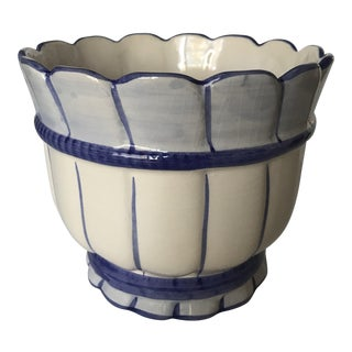 Portuguese Ceramic Blue and White Planter For Sale