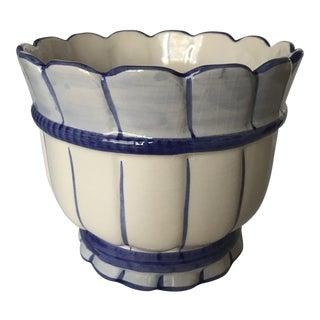 Portuguese Ceramic Blue and White Planter For Sale