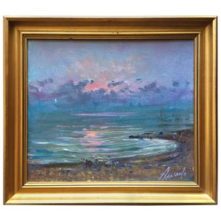 Midcentury Painting Sunrise at Sea, Oil in Canvas by Arnedo Linares, Spain For Sale