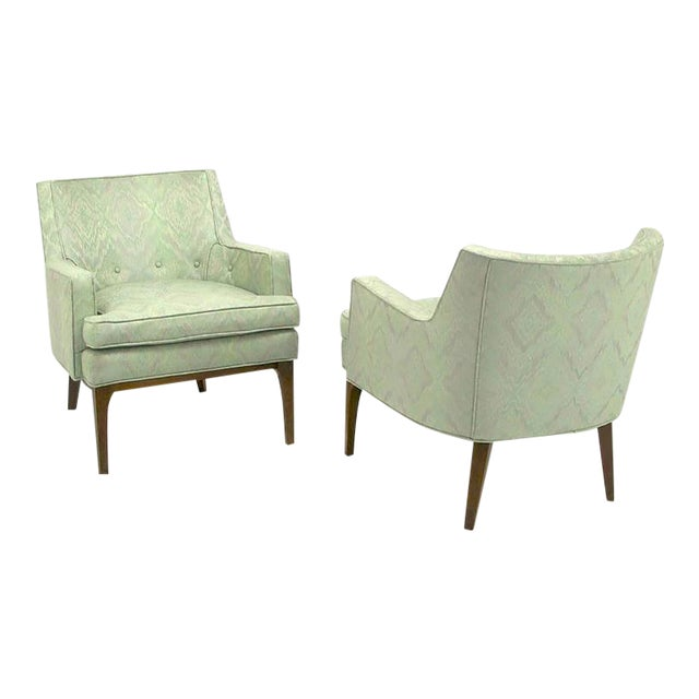 Pair of Classic Barrel-Back Club Chairs in Ikat Upholstery - Image 1 of 7