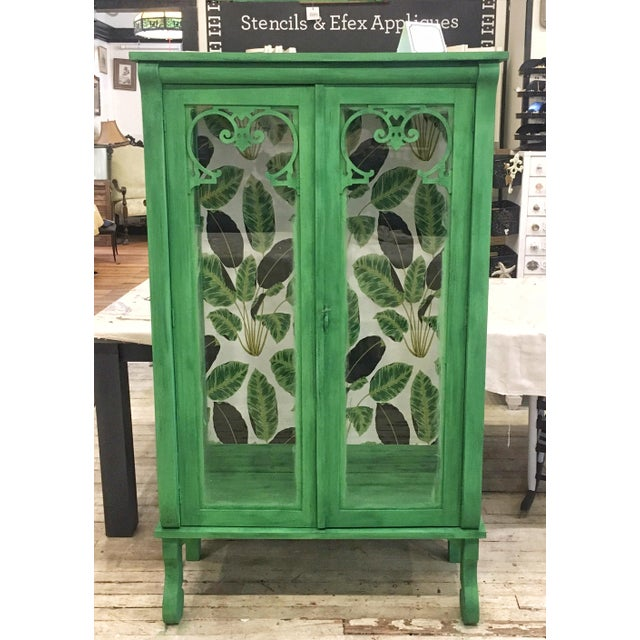Cutom Painted Green Display Cabinet For Sale - Image 4 of 4