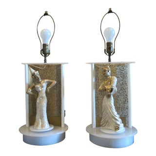 White and Gold Harlequin Mid Century Modern Moss Spinning Lamps - a Pair For Sale