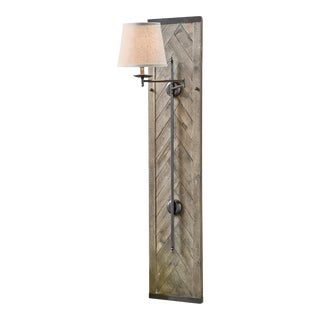 Herringbone Wood Panel Swing Arm Sconce For Sale