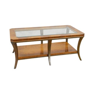 Henredon Large Glass Top Mahogany Classic Modern Style Coffee Table For Sale