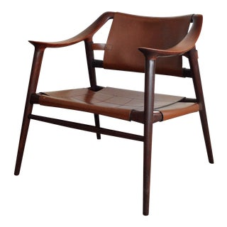 Vintage Leather Rolf Rastad & Adolf Relling for Gustav Bahus Bambi Lounge Chair For Sale