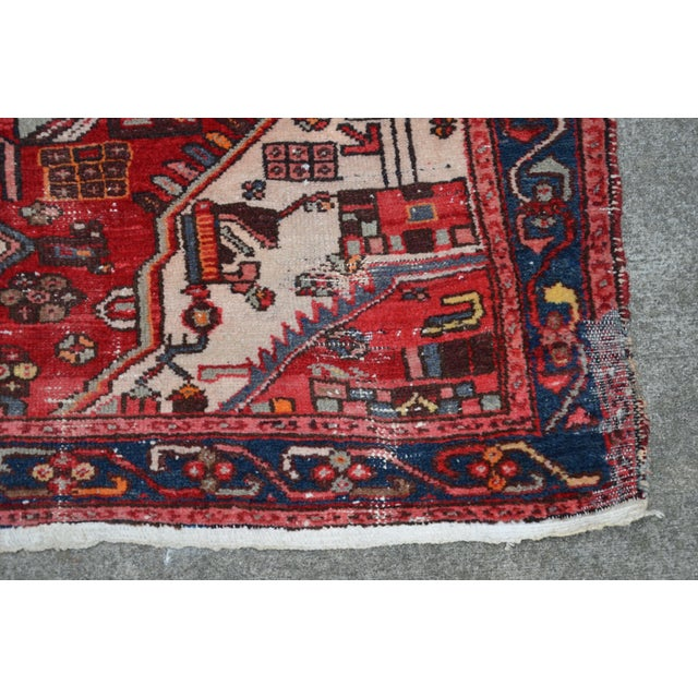 """Brick Red Extra Large Persian Hand Woven Hamadan Runner - 16' X 4' 8"""" For Sale - Image 8 of 12"""