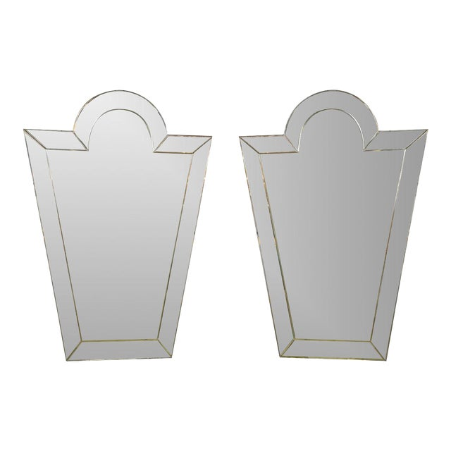 Venetian 'Key Hole' Shaped Mirrors - A Pair For Sale