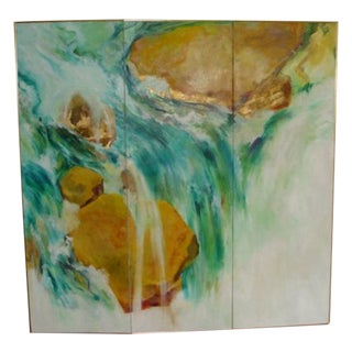 Abstract Screen Painting Waterfall by Lenn Kanenson For Sale