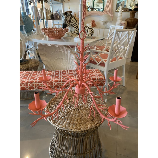 "Lovely vintage metal ""coral"" chandelier. In a lovely coral color. Comes with matching ceiling canopy. Pair available If..."