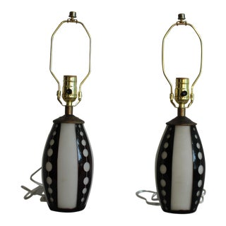 1960s Vintage Etched Murano Glass Lamps - A Pair For Sale