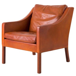 Børge Mogensen Model #2207 Leather Lounge Chair For Sale