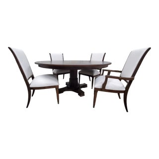 Thomasville Furniture Harlowe & Finch Adelaide Round Dark Oak Dining Table and Chair Set - Set of 5 For Sale