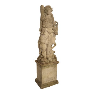 Early 20th Century Italian Limestone Statue of Diana the Huntress For Sale