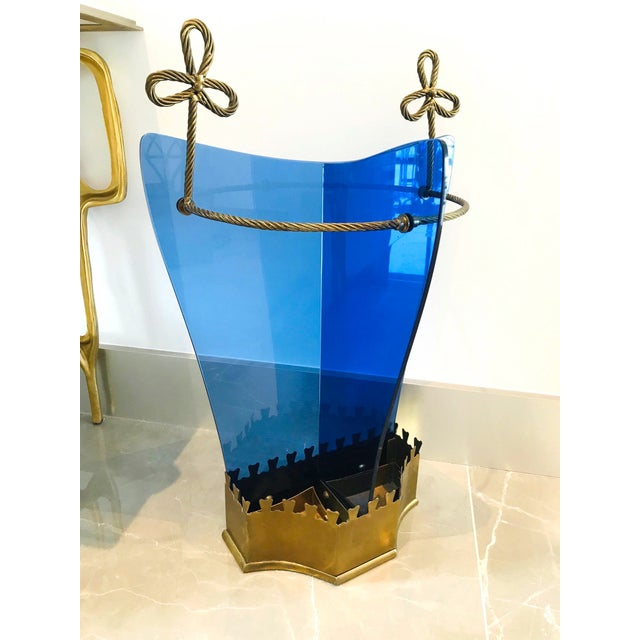 1950s Italian Glass and Gilt Iron Umbrella Stand by Fontana Arte, 1950s For Sale - Image 5 of 13