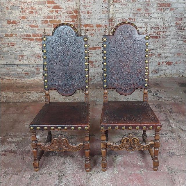 """19th century Portuguese Side Chairs Embossed Leather -A Pair size 19 x 18 x 47"""" seat height 18"""" A beautiful piece that..."""
