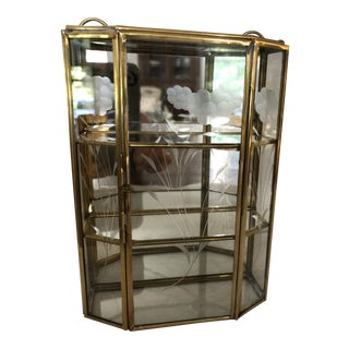 1970s Etched Glass and Brass Mirrored Curio For Sale
