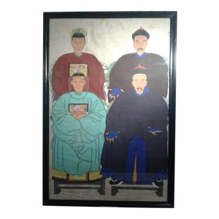Antique Chinese Ancestral Portrait Original Framed For Sale