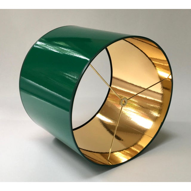 Modern Large High Gloss Dark Green Drum Lamp Shade With Gold Lining For Sale - Image 3 of 6