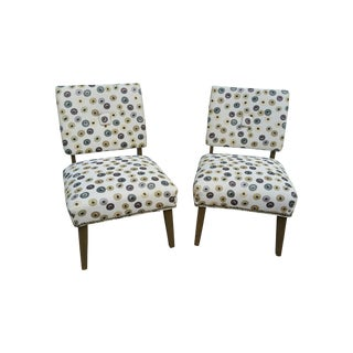 Mid-Century Polka Dot Slipper Chairs - a Pair For Sale