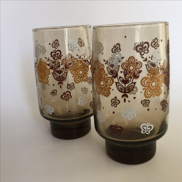 Mid-century Smoky Butterfly Glasses - Set of 8 - Image 4 of 9