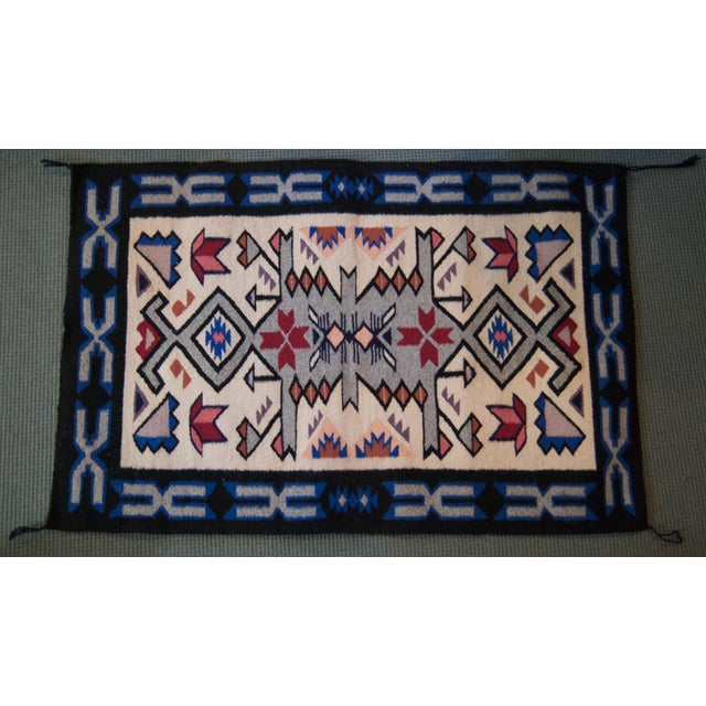 American Vintage Navajo Hand Loomed Geometric Rug by Ella John- 2′1″ × 3′2″ For Sale - Image 3 of 12