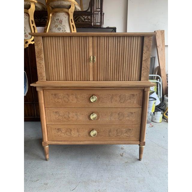 Mid-Century Burled Wood Highboy Dresser For Sale - Image 13 of 13