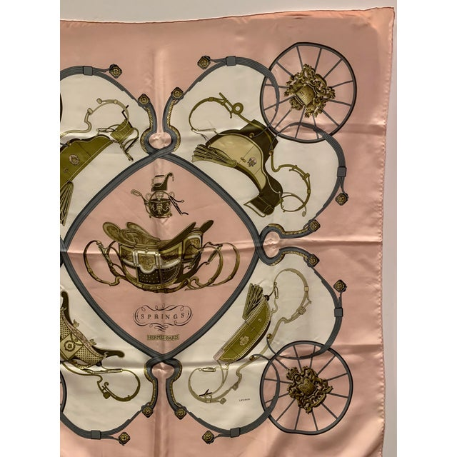 """Hermès Hermes """"Springs"""" Equestrian Themed Silk Scarf For Sale - Image 4 of 6"""