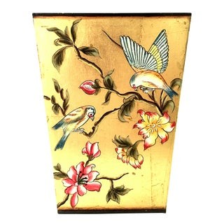 21st Century Hand Painted Gold Leaf Tole Waste Basket For Sale