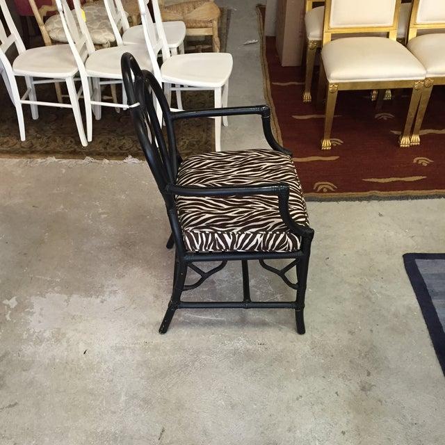 Black Rattan Zebra Pattern Fabric Chair - Image 3 of 6