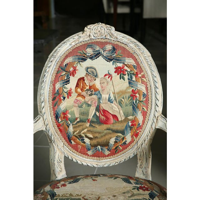 Early 18th Century Fine Pair of Swedish Neoclassic Painted Armchairs For Sale - Image 5 of 9