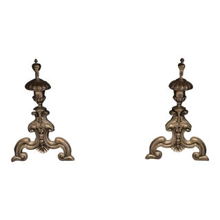Vintage French Cast Brass Andirons - a Pair For Sale