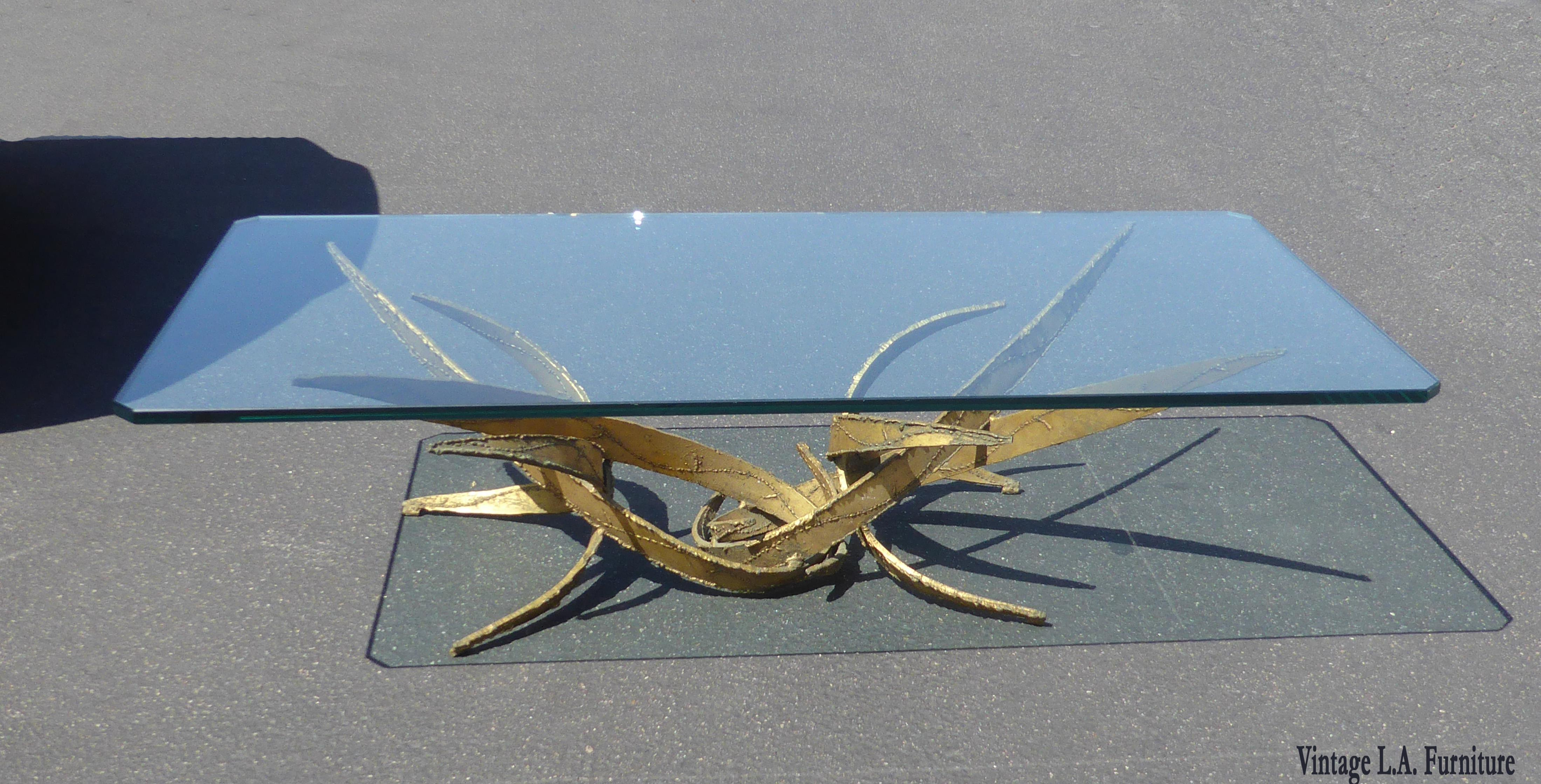 Silas Seandel Brutalist Gold Coffee Table Mid Century Modern For Sale In  Los Angeles   Image