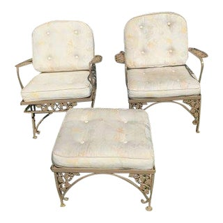 Vintage 1960's Aluminum Patio Chairs and Ottoman - Set of 3 For Sale