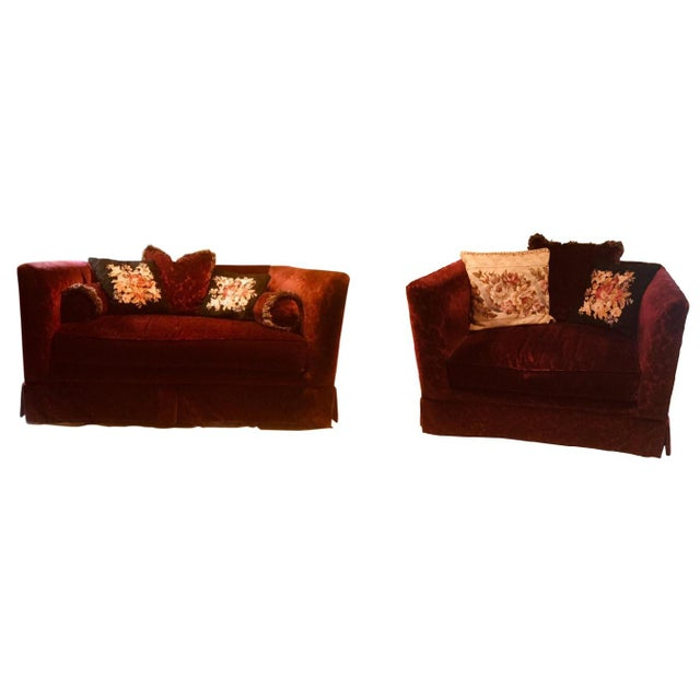 1990s Vintage Bordeaux Velvet Loveseat & Chair- A Pair For Sale - Image 10 of 10