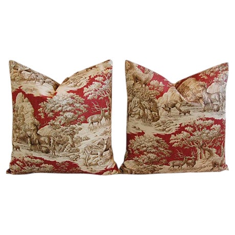 Custom French Woodland Deer Toile Pillows - Pair - Image 1 of 8