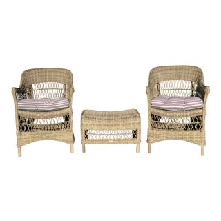 Sika Designs Charlot Chairs, a Pair + Dawn Foot Stool For Sale