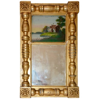 Early 20th Century Gold Gilded Mirror With Reverse Painting For Sale