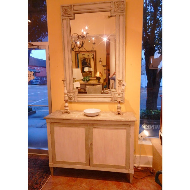 Elegant Italian buffet with faux marble top. Buffet has been carefully restored and paint has been refreshed.