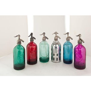 Vintage Seltzer Bottles in Basket - Set of 6 Preview