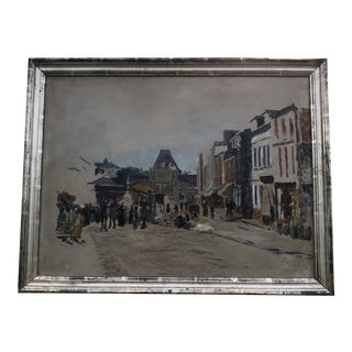 Mid-Century French Street Scene Oil Painting For Sale