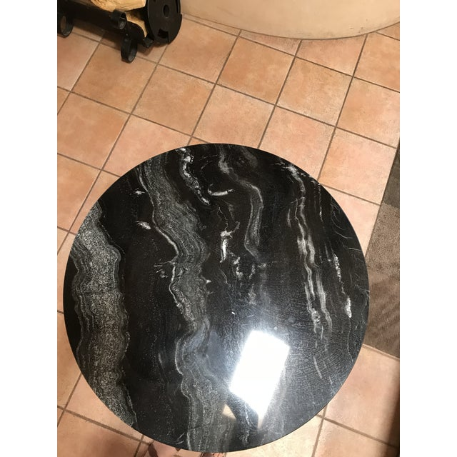 1940s Vintage Marble and Wood Side Table For Sale - Image 5 of 6